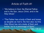 article of faith 1