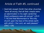 article of faith 5 continued