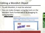 editing a wordart object