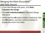 merging the main document and data source