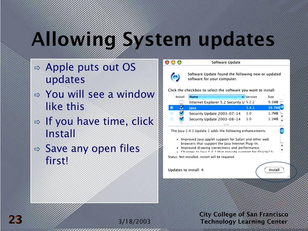 Allowing System updates