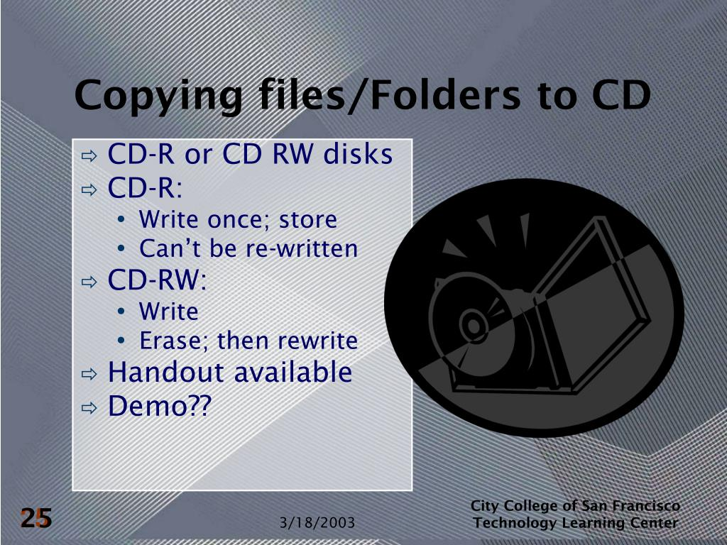 Copying files/Folders to CD