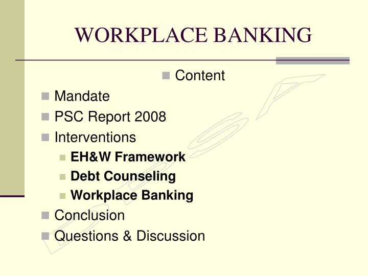 workplace banking n.