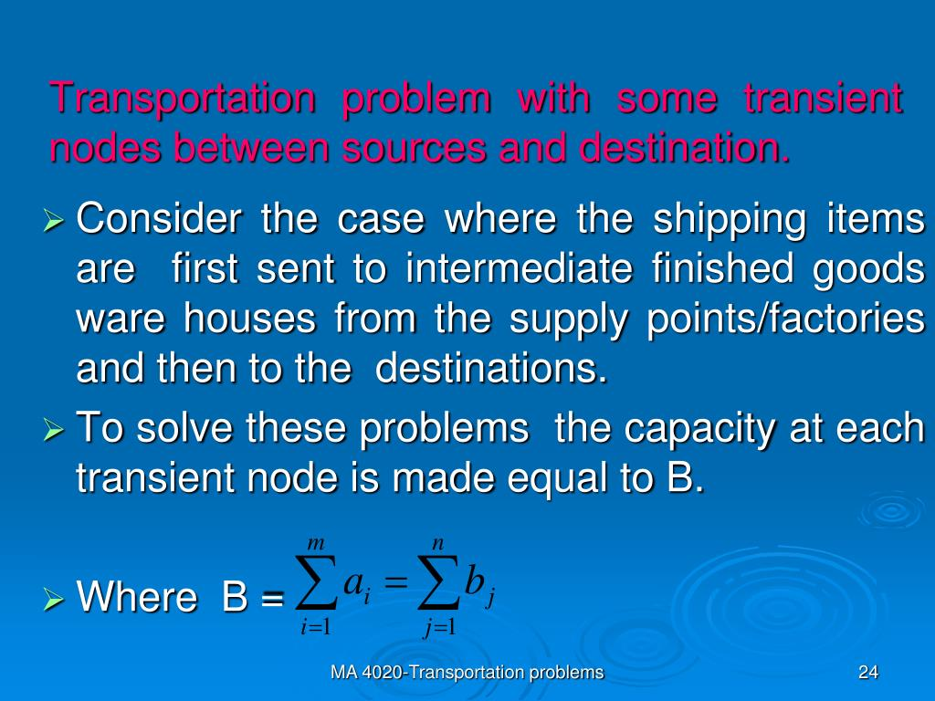 PPT - Transportation problems Operational Research Level 4