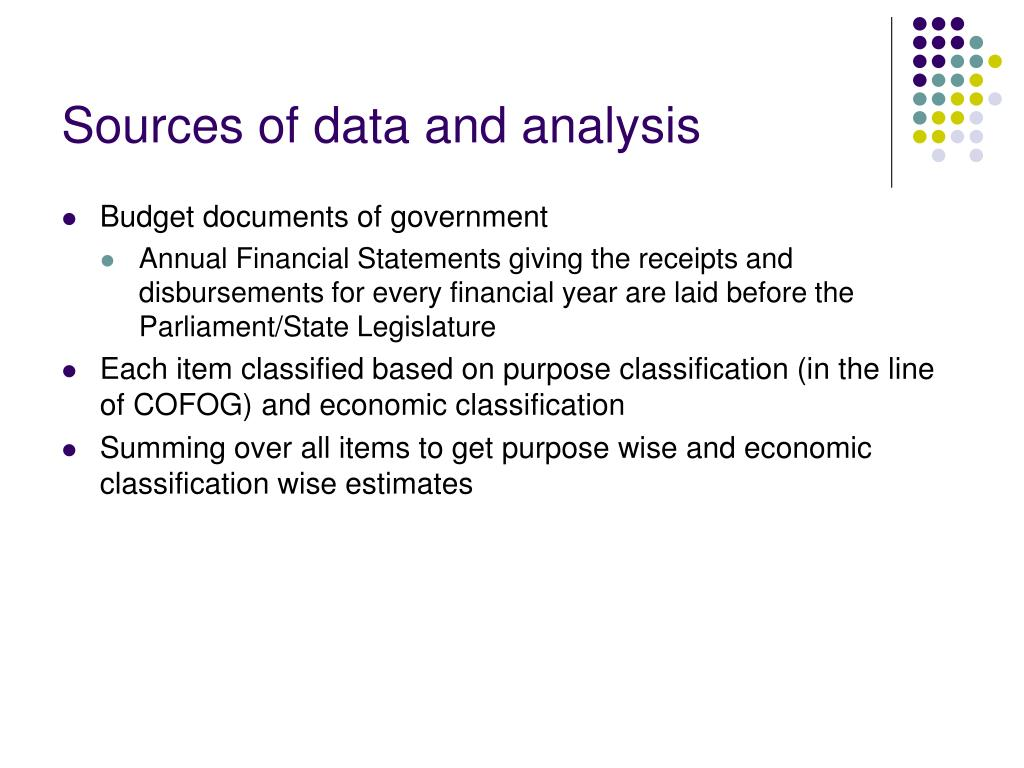 Sources of data and analysis
