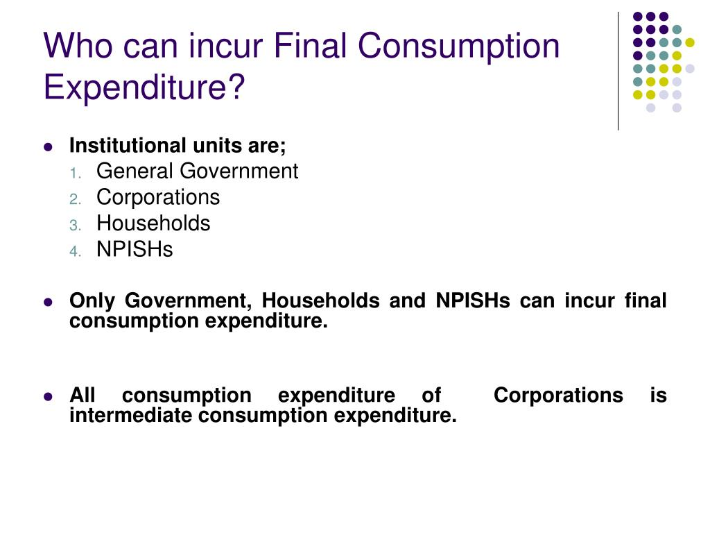 Who can incur Final Consumption Expenditure?