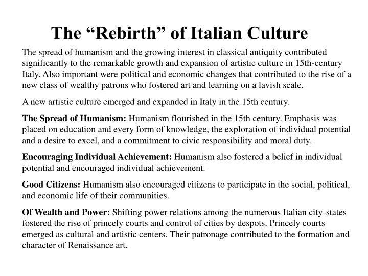 The rebirth of italian culture