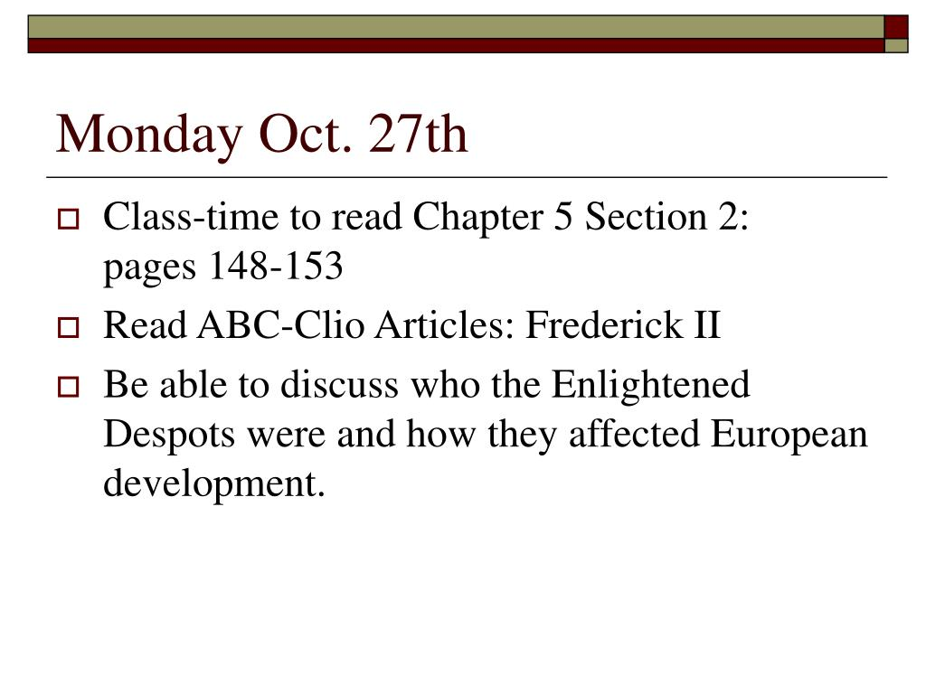 Monday Oct. 27th