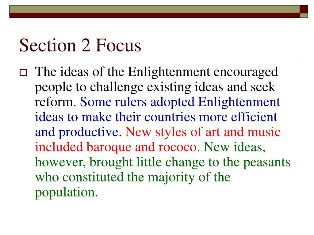 Section 2 Focus