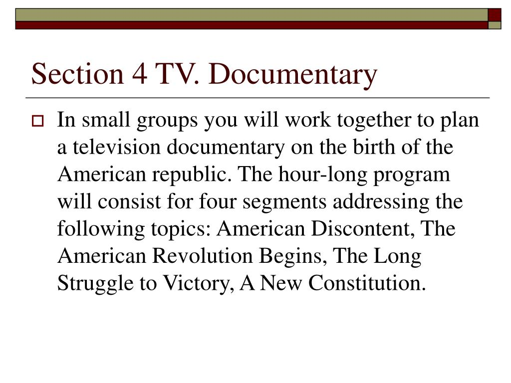 Section 4 TV. Documentary
