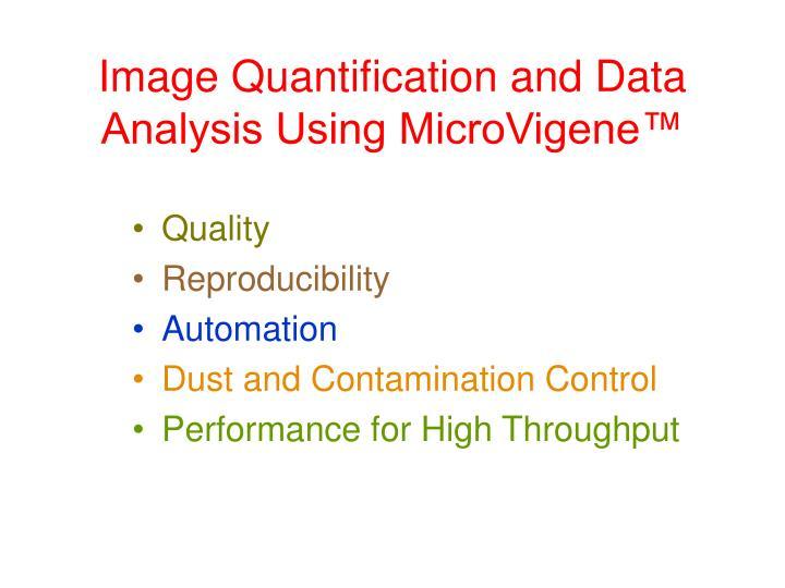 Image Quantification and Data Analysis Using MicroVigene™