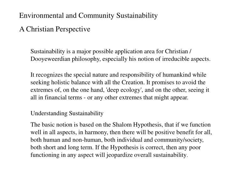 Environmental and Community Sustainability