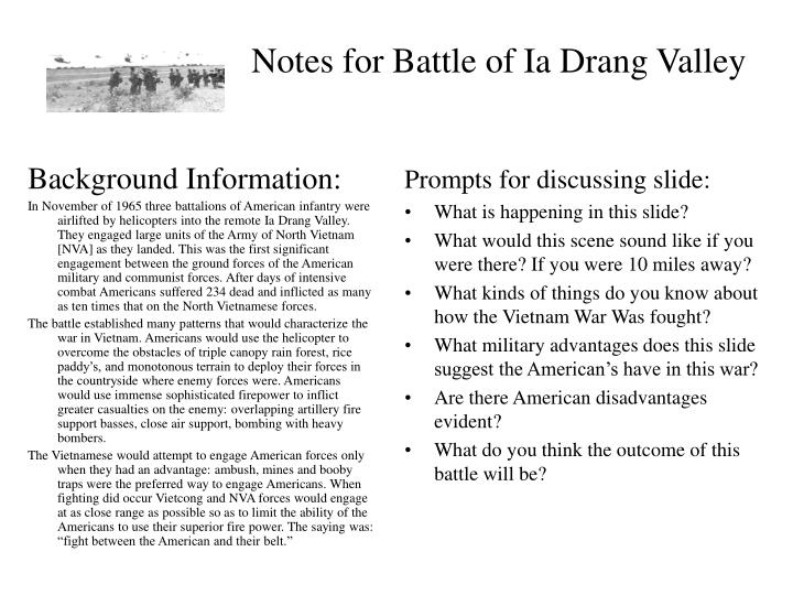Notes for battle of ia drang valley