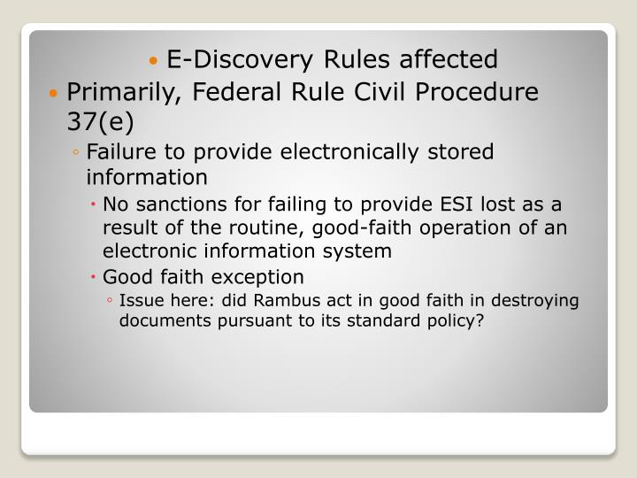 E-Discovery Rules affected