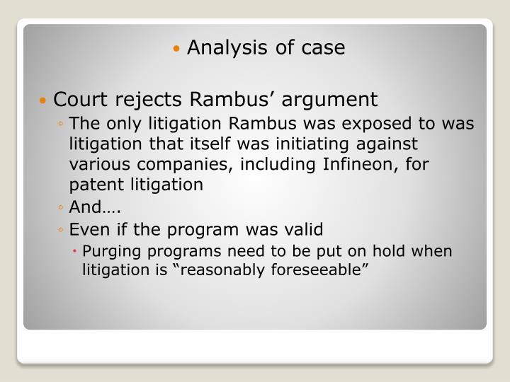 Analysis of case