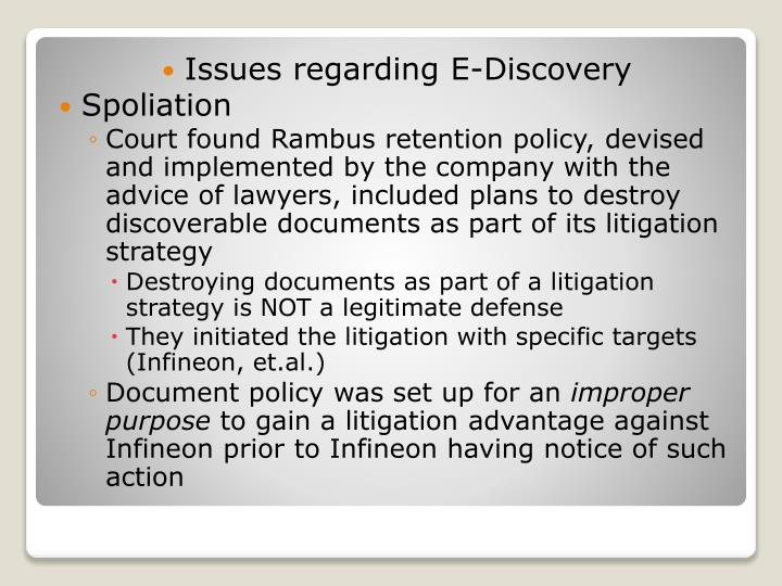 Issues regarding E-Discovery