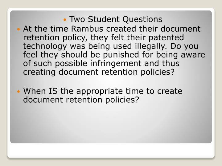 Two Student Questions
