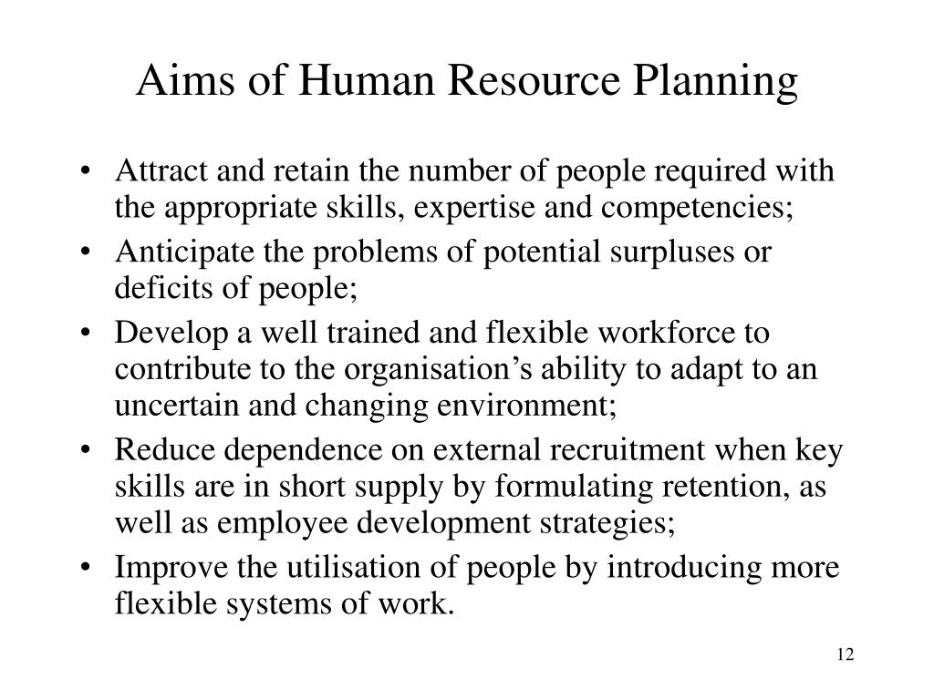 Aims of Human Resource Planning