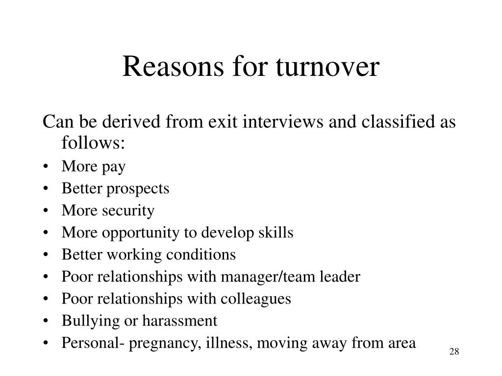 Reasons for turnover