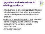 upgrades and extensions to existing products