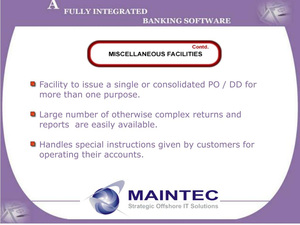 Facility to issue a single or consolidated PO / DD for