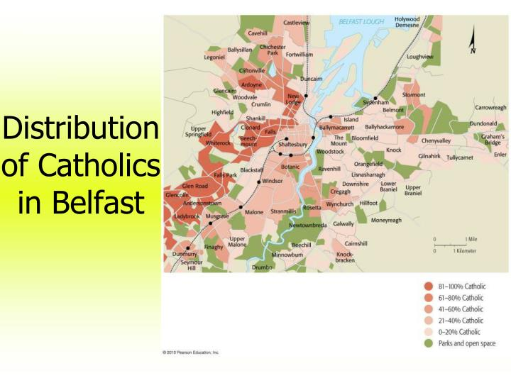 Distribution of Catholics in Belfast