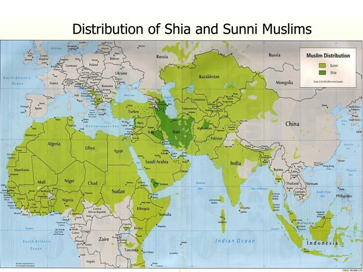 Distribution of Shia and Sunni Muslims