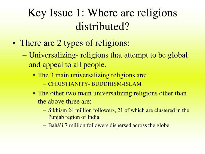 Key Issue 1: Where are religions distributed?