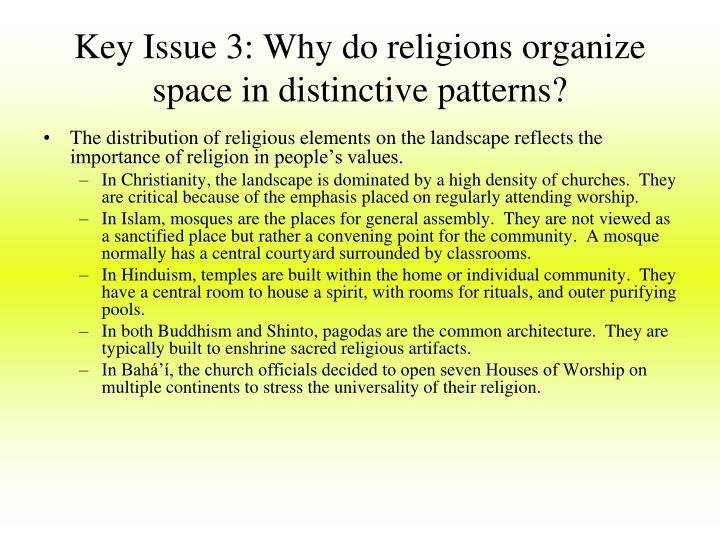 Key Issue 3: Why do religions organize space in distinctive patterns?