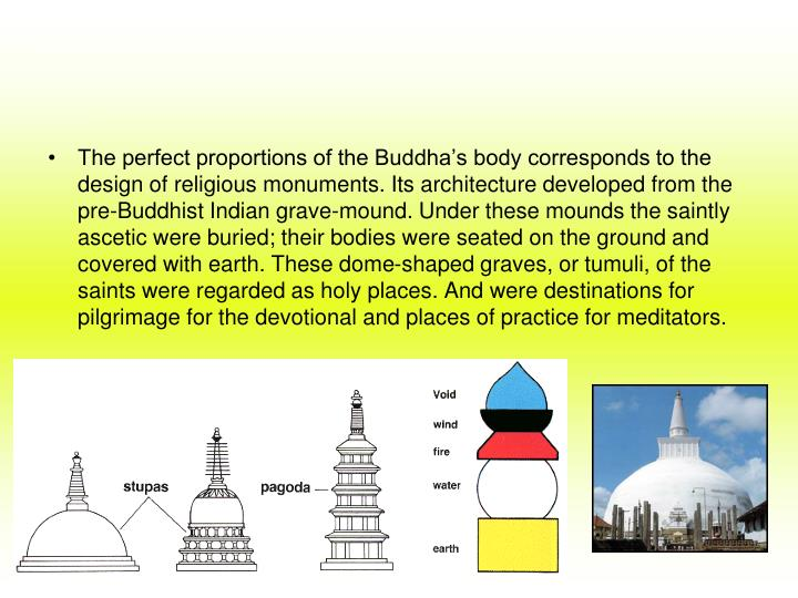 The perfect proportions of the Buddha's body corresponds to the design of religious monuments. Its architecture developed from the pre-Buddhist Indian grave-mound. Under these mounds the saintly ascetic were buried; their bodies were seated on the ground and covered with earth. These dome-shaped graves, or tumuli, of the saints were regarded as holy places. And were destinations for pilgrimage for the devotional and places of practice for meditators.
