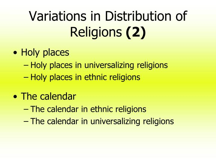 Variations in Distribution of Religions