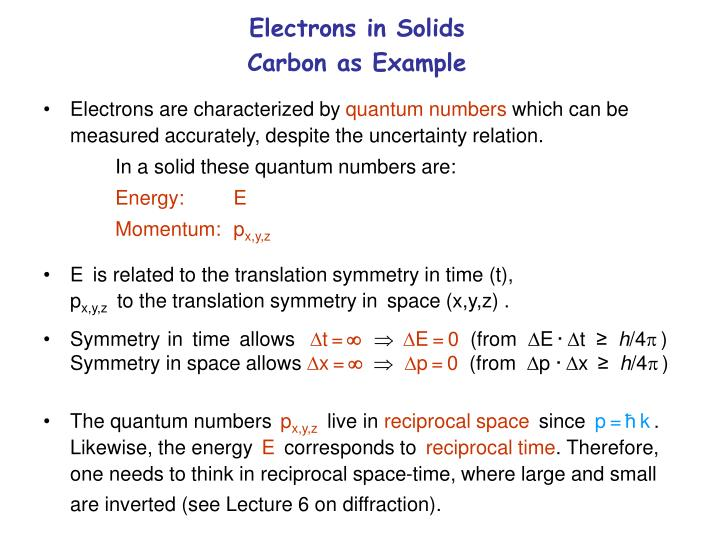 Electrons in solids carbon as example