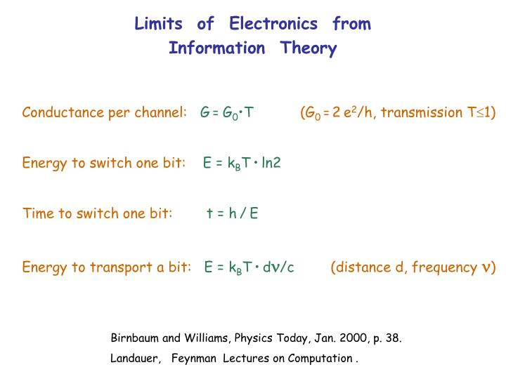 Limits  of  Electronics  from  Information  Theory