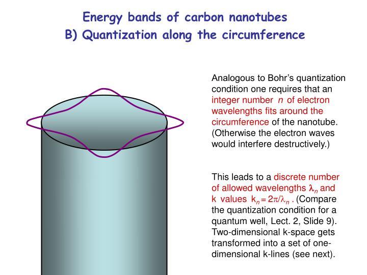 Energy bands of carbon nanotubes                      B) Quantization along the circumference
