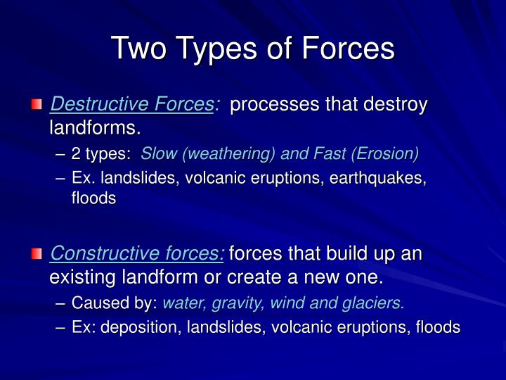 Two types of forces