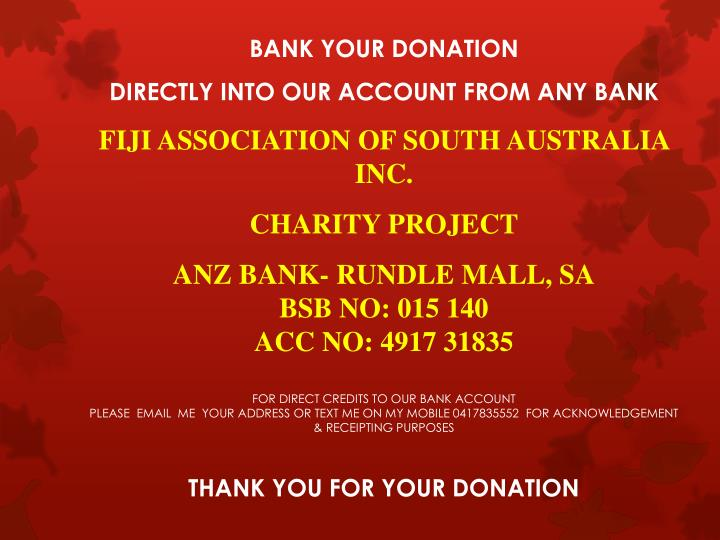 BANK YOUR DONATION