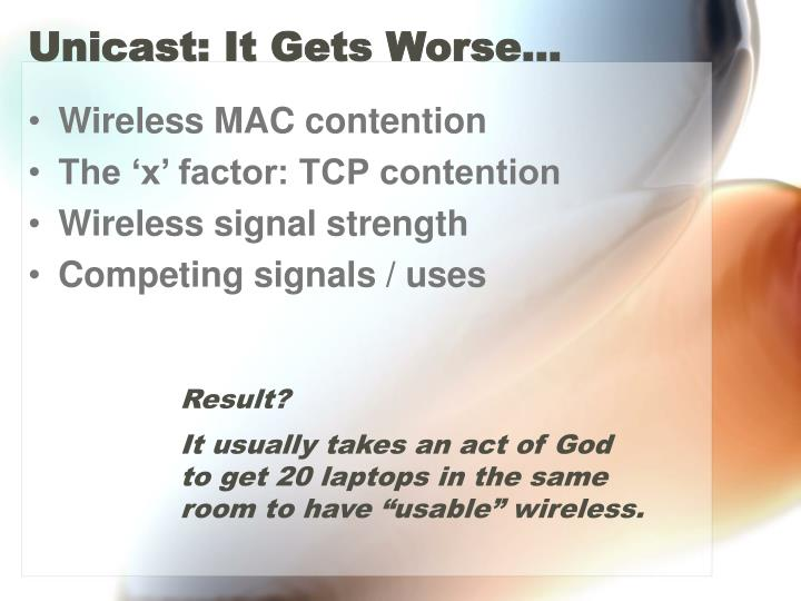 Unicast: It Gets Worse…