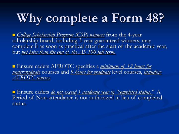 Why complete a form 481