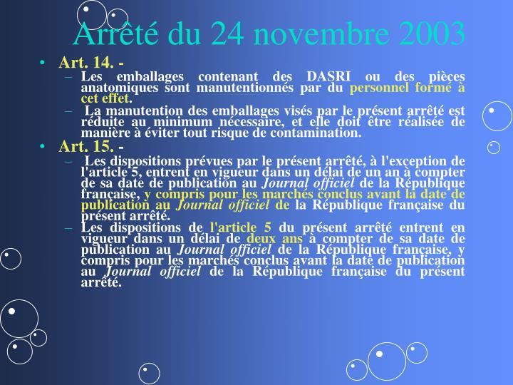 Arrêté du 24 novembre 2003