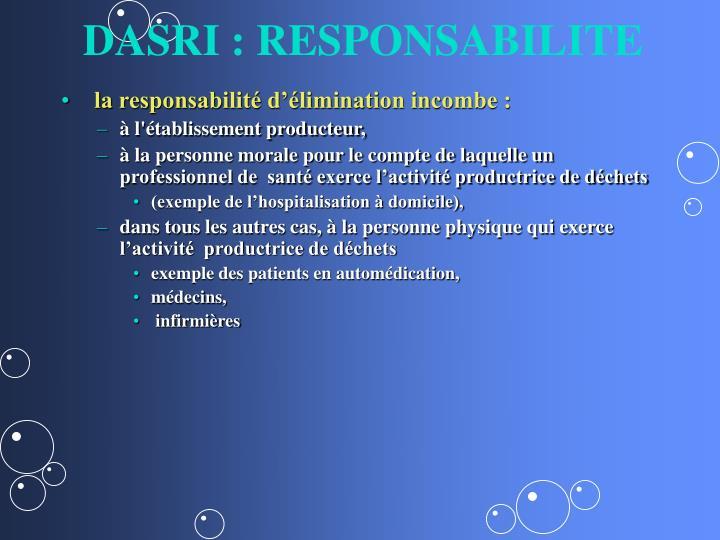 DASRI : RESPONSABILITE
