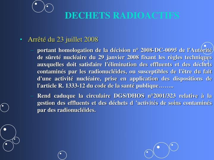 DECHETS RADIOACTIFS