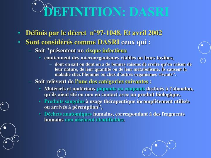 DEFINITION: DASRI