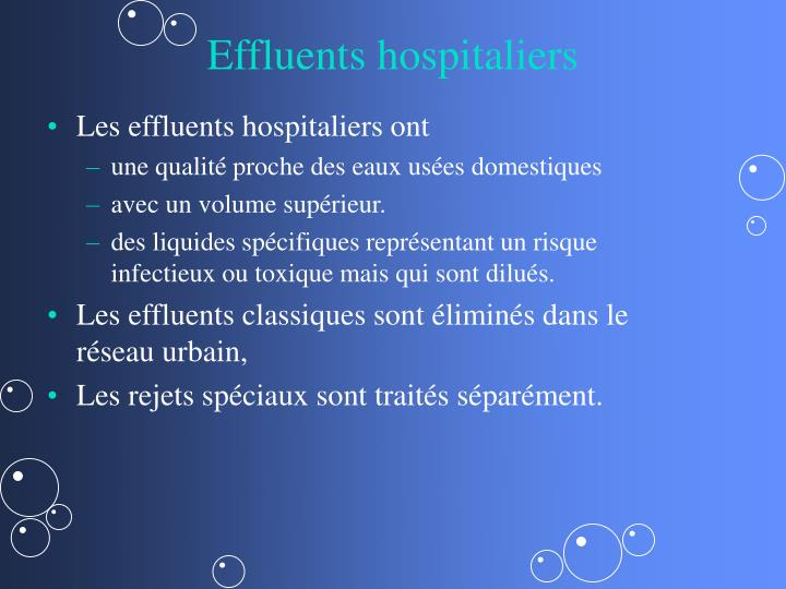 Effluents hospitaliers