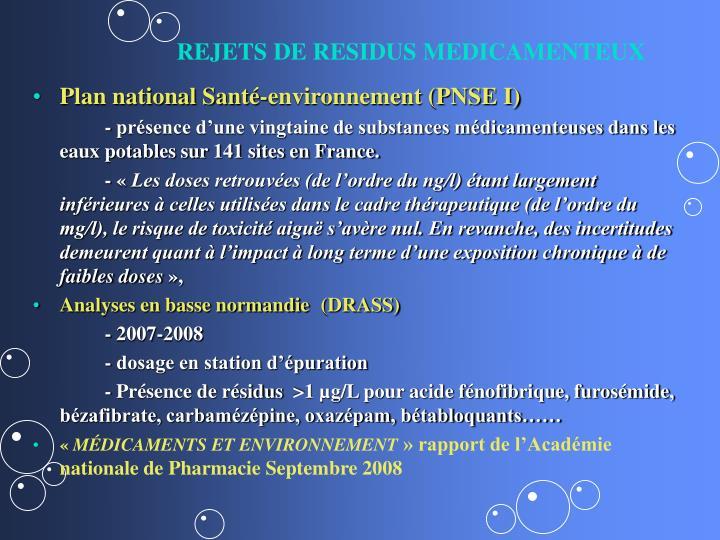 REJETS DE RESIDUS MEDICAMENTEUX