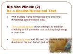 rip van winkle 2 as a realist historical text
