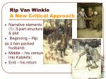 rip van winkle a new critical approach