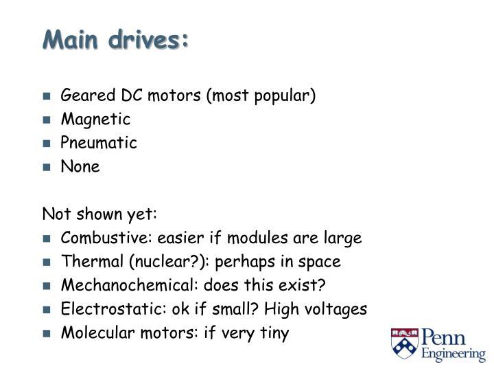 Main drives: