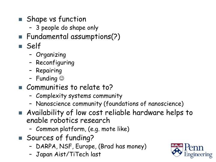 Shape vs function