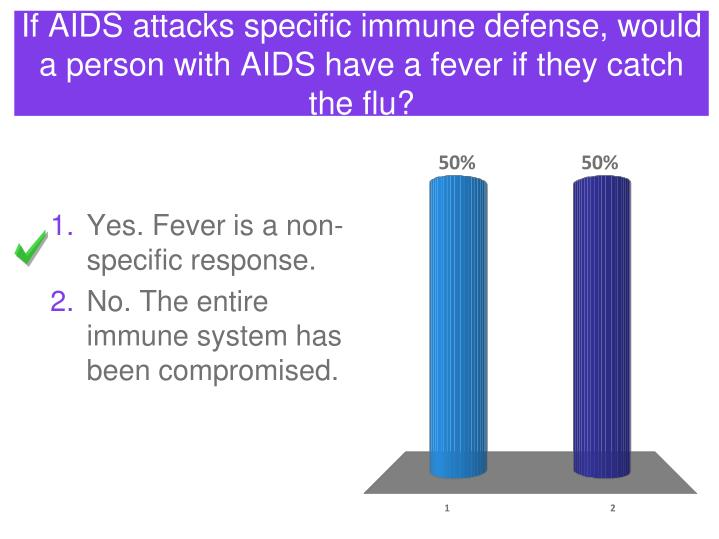 If AIDS attacks specific immune defense, would a person with AIDS have a fever if they catch the flu?