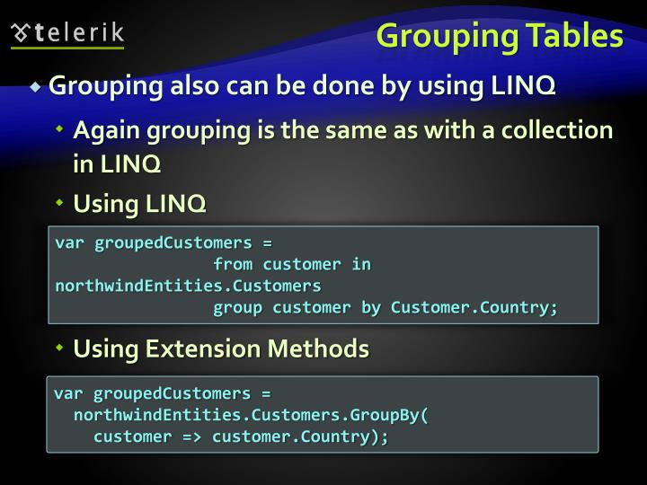 Grouping Tables